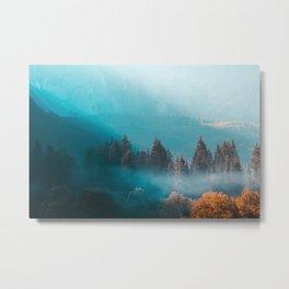 Shining light on foggy autumn forest Metal Print