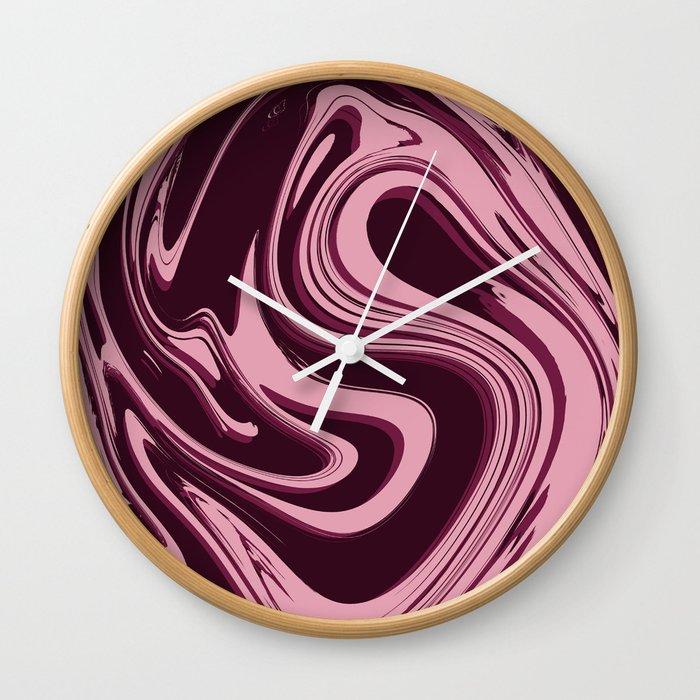 Liquid Pink Wall Clock By Handandheartdesigns Society6