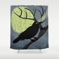 crow Shower Curtains featuring Crow by Nir P