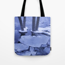 Ice Floes Crash And Creep At Edge Of The Otonabee River. Tote Bag