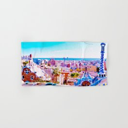 Park Guell Watercolor painting Hand & Bath Towel