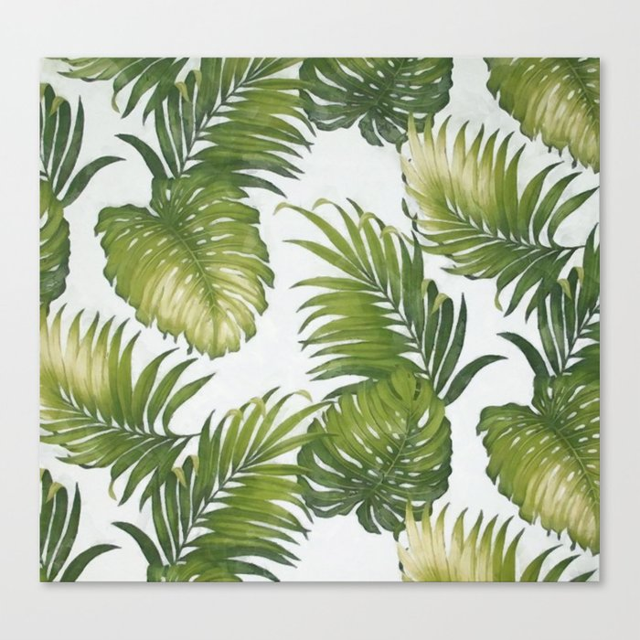 Monstera and palm leaves Canvas Print