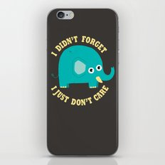 An Elephant Never Cares iPhone & iPod Skin