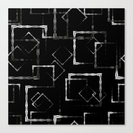 Bright carved squares and white rhombuses on a black background. Canvas Print