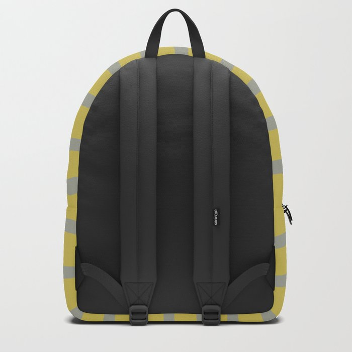 Simply Drawn Stripes Retro Gray on Mod Yellow Backpack