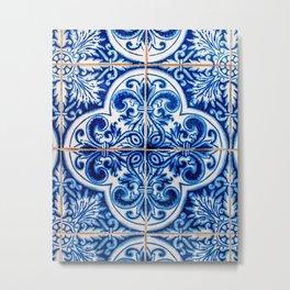Portuguese Tile Azulejo Blue and White Quatrefoil Metal Print