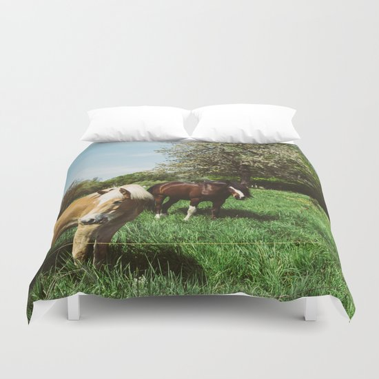 Horses In Spring Pasture Duvet Cover