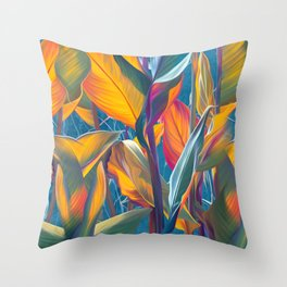 Watercolor tropical leaves Throw Pillow