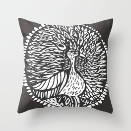 brid peacock black and white Throw Pillow