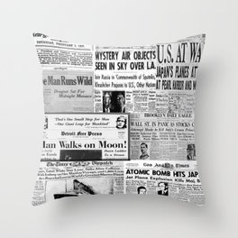 Vintage News Headlines Throw Pillow