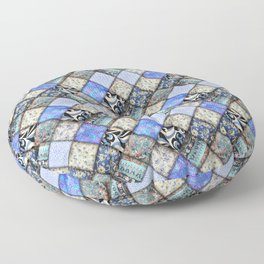 Faux Patchwork Quilting - Blues Floor Pillow