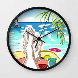 Selfie with Mens Legs and Cocktail on a Ocean Beach Wall Clock