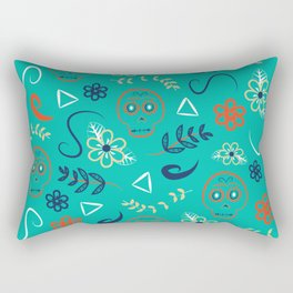 Dia De Los Turquoise Rectangular Pillow