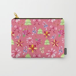 Cute Pink Christmas Print Carry-All Pouch