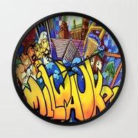 milwaukee Wall Clocks featuring MILWAUKEE: heartMilwaukee by Amanda Iglinski
