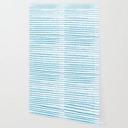 Blue crayon stripes pattern Wallpaper