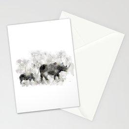 Rhino and Calf Stationery Cards