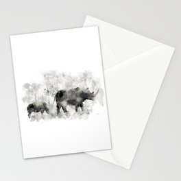 Rhino and Calf Stationery Cards