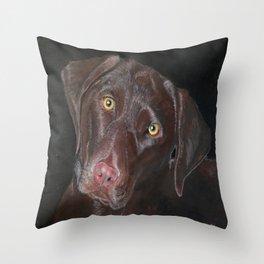 Inquisitive Chocolate Labrador Throw Pillow