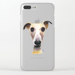 Nosey Dog Whippet Greyhound ' HOLLYWOLLY ' by Shirley MacArthur Clear iPhone Case