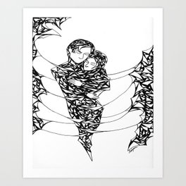 Lover's Embrace Pen and Ink Art Print