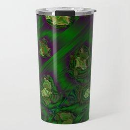green abstract metal pattern Travel Mug