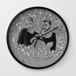Flower couple Wall Clock