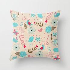 Singing birds in flowers Throw Pillow