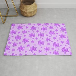 bright pink girly flowers on baby pink background patter graphic design Rug