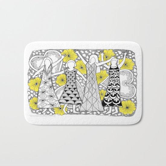 Zentangle Girls - Black and White Illustration Bath Mat