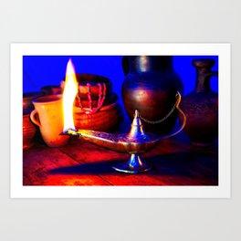 Magic Lamp of Aladdin. Call out the Genie Art Print