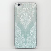 moroccan iPhone & iPod Skins featuring Lace & Shadows - soft sage grey & white Moroccan doodle by micklyn