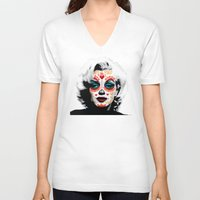 marylin monroe V-neck T-shirts featuring Marylin de los Muertos 1 by jazzyjules63