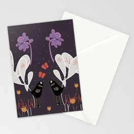 Two Good Friends Talk Into The Night. Stationery Cards