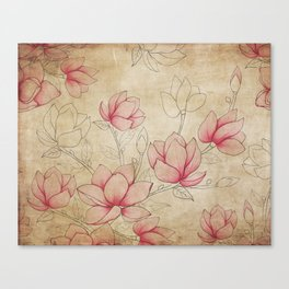 Vintage Shabby Pink Magnolia on Antique White Canvas Print