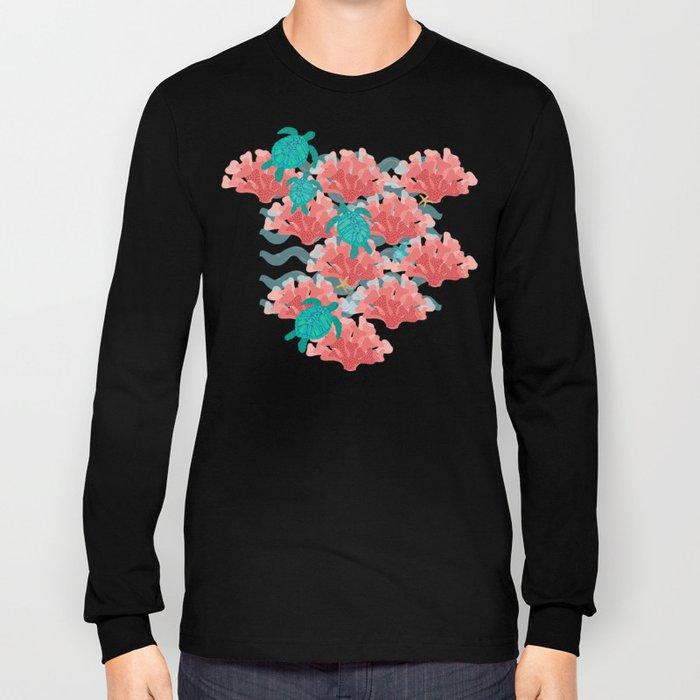 Sea Turtles in The Coral - Ocean Beach Marine Long Sleeve T-shirt