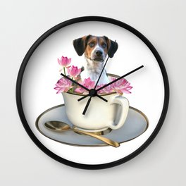 Coffee Cup - Jack Russell  Dog - Lotos Flowers Wall Clock