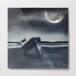 Moonlit Wreck - Stranded Ship Wreck on a Beach at Night Metal Print