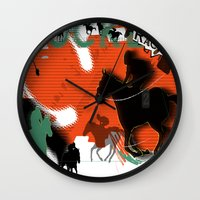 racing Wall Clocks featuring Horse Racing by Robin Curtiss