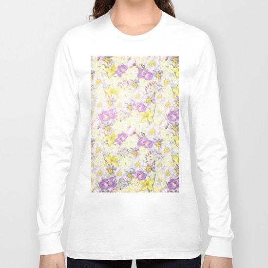 Vintage pattern- Spring in purple and yellow- daffodils and anemones Long Sleeve T-shirt