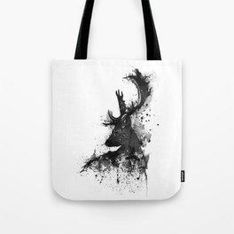 Deer Head Watercolor Silhouette - Black and White Tote Bag