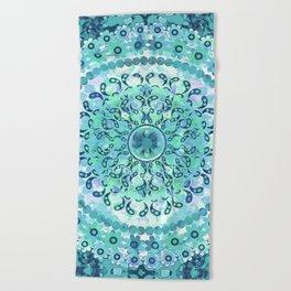 Aqua Mosaic Mandala Beach Towel
