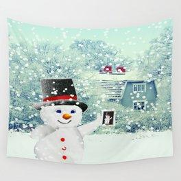 Snowman Selfie Wall Tapestry