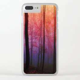 Whispering Woods, Colorful Landscape Art Clear iPhone Case