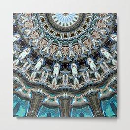Abstract Blues Mandala Metal Print