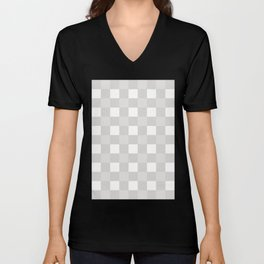 Gingham (Platinum/White) Unisex V-Neck