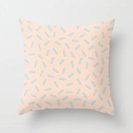 Memphis Bacteria Pattern Pastel Colors Peach Baby Blue Throw Pillow