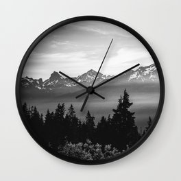 Morning in the Mountains Black and White Wall Clock