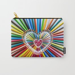Colorful Pencils with Pink Heart Stone Carry-All Pouch