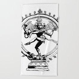 Natraj Dance - Mono Beach Towel